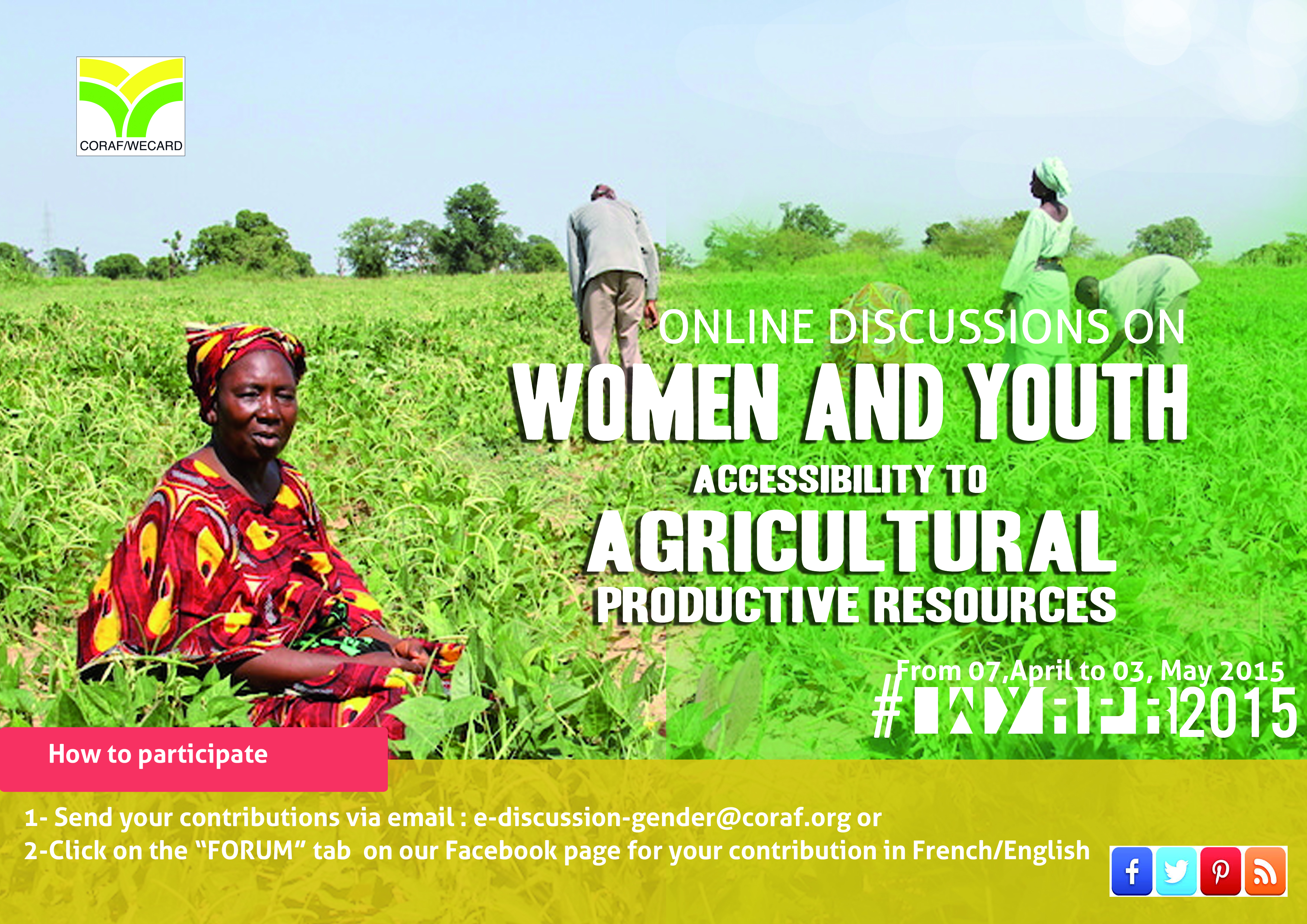 Access of women and youth in agricultural productive resources : CORAF / WECARD launches online discussion on the issue